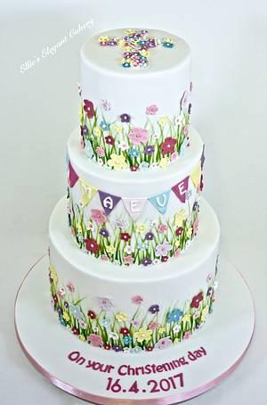 Summer Meadow Christening Cake - Cake by Ellie @ Ellie's Elegant Cakery