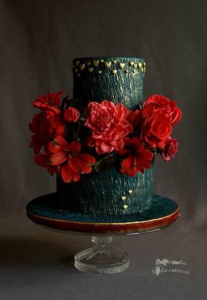Red flowers - Cake by Katarzynka