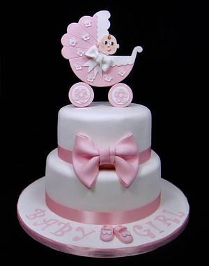 Baby Shower Pram Topper Cake - Cake by Ceri Badham