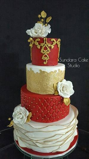 Red, White and Gold Wedding - Cake by Sherikah