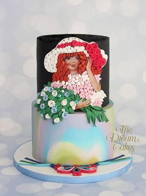 Flower Girl - Edible Quilling Art. - Cake by Ashwini Sarabhai