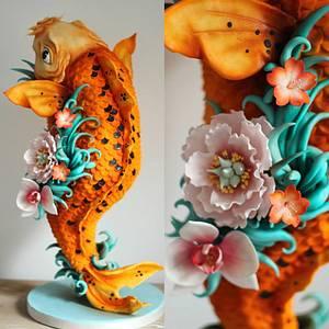 Tattoo inspired Koi Carpe sculpted cake - Cake by Sugar Spice