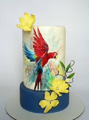 B- Day hand painted parrot cake - Cake by Martina Matyášová