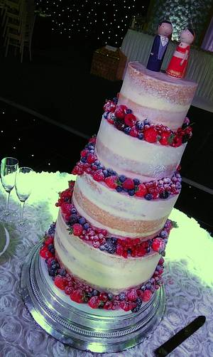 Semi-naked wedding cake with berries - Cake by The Rosehip Bakery