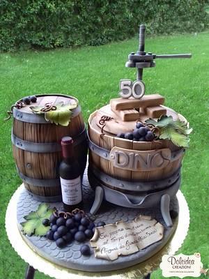 Torchio e botte con vino - Wine barrel - Cake by Dolcidea creazioni