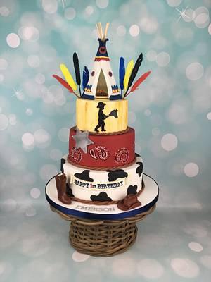 Cowboy and Indian teepee 1st birthday cake  - Cake by Melanie Jane Wright