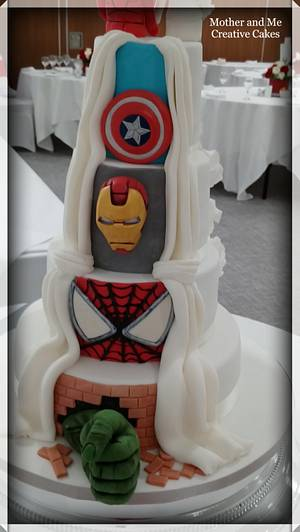 Super Hero Reveal Wedding Cake  - Cake by Mother and Me Creative Cakes