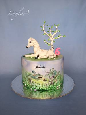 White horse  - Cake by Layla A