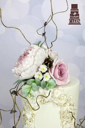 Antique Rose Wafer paper wedding cake - Cake by Dragons and Daffodils Cakes