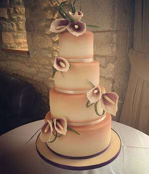 Calla Lily and Copper Lustre wedding cake  - Cake by Samantha Tempest