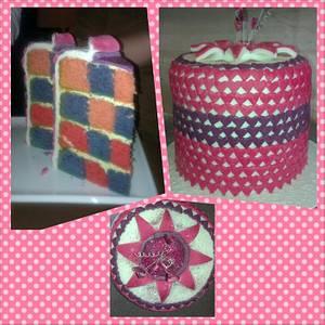 My very tall chequer plate birthday cake! - Cake by Abbi's Cupcakes