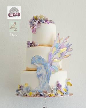 lady Iris watercolor - Cake Central  - Cake by Judith-JEtaarten