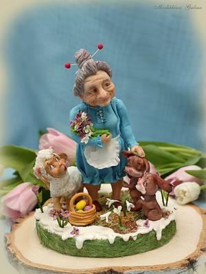 """Easter 2017. Sugar composition """" For beloved grandmother!"""" - Cake by Galina Maslikhina"""