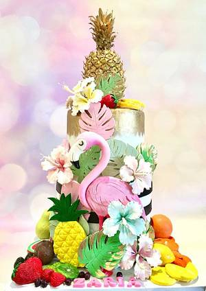 Flamingo and fruits cake  - Cake by Tiers of joy