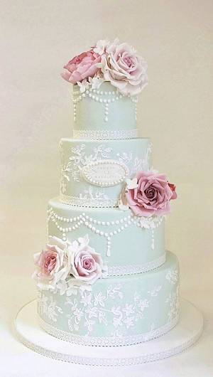 Wedding cake in pink and mint. - Cake by Sannas tårtor