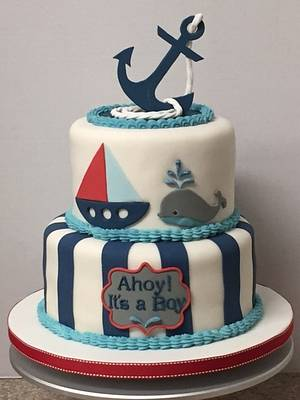 Nautical baby shower cake - Cake by Patricia M