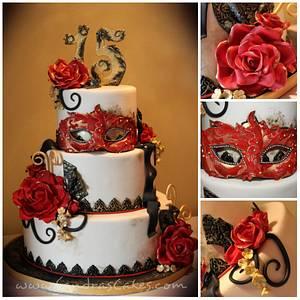 Quinceañera Masquerade - Cake by Sandrascakes