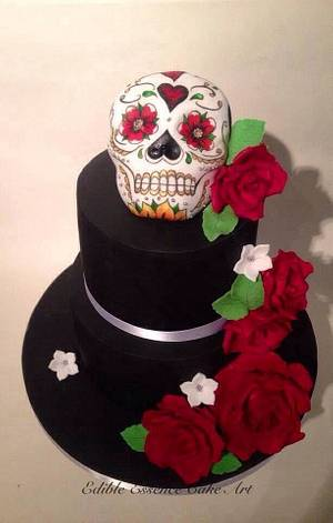 Candy skull wedding cake - Cake by Edible Essence Cake Art