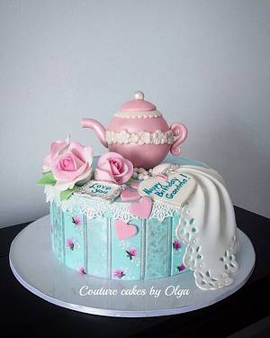 Tea pot3 - Cake by Couture cakes by Olga