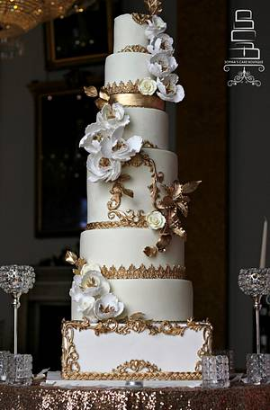 Ivory & Gold - Cake by Sophia's Cake Boutique