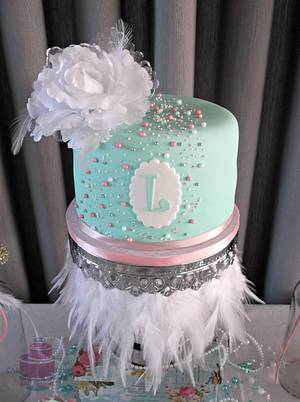 Mint green colored cake  - Cake by CakesByPaula
