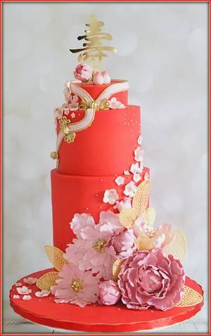 Cheongsam inspired 90th birthday - Cake by Jo Finlayson (Jo Takes the Cake)