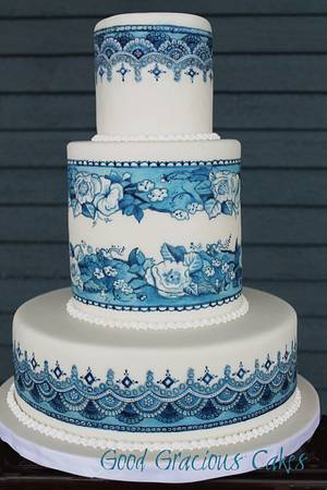 Blue and White Hand Painted Cake - Cake by Michelle Boyd