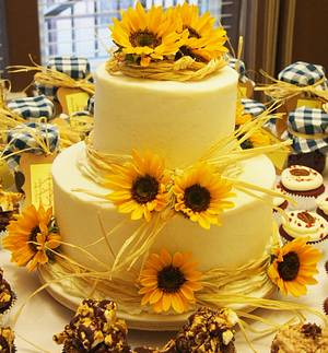 Sunflower Wedding - Cake by Kendra's Country Bakery