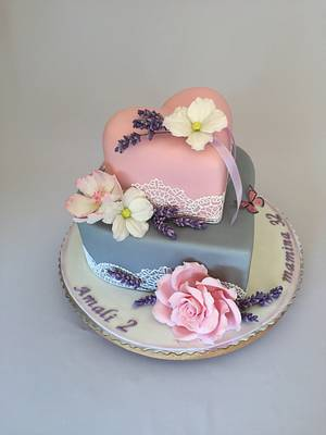 Double heart with flowers  - Cake by Layla A