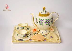 Tea pot set- (cake this again collaboration) - Cake by Tasnuta Cake Artistry ( TASNUTA ALAM)
