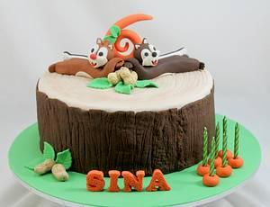 Chip & Dale chipmunks - Cake by Kake Krumbs
