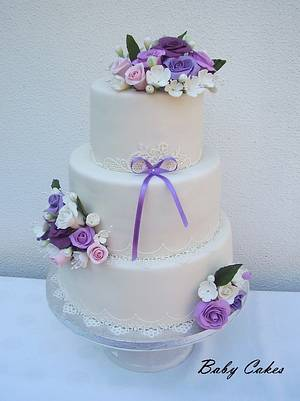Romantic wedding cake in pastel colors - Cake by Stániny dorty