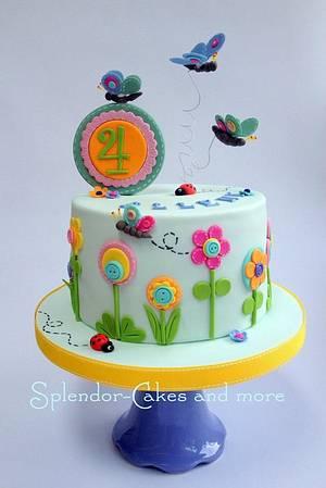 Flowers and butterflies - Cake by Ellen Redmond@Splendor Cakes