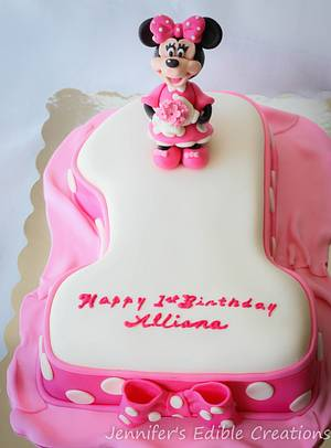Minnie Mouse First Birthday Cake - Cake by Jennifer's Edible Creations