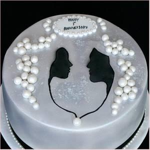 Black and White anniversary cake - Cake by Flourbowl Cakes