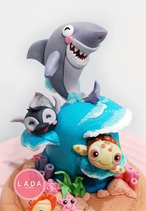 Sea Animals sugar cake topper - Cake by Ladadesigns