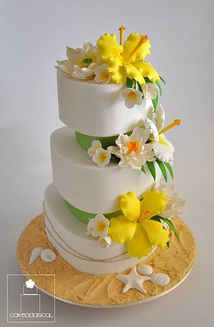 Citrus yellow and lime Beach themed wedding cake - Cake by Cakeadaisical