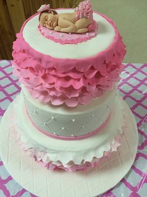 Pink ruffled baby shower cake - Cake by Julie
