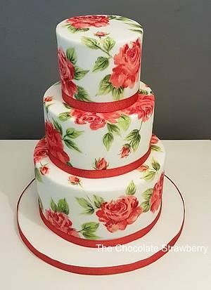 Red Rose painted wedding cake - Cake by Sarah Jones