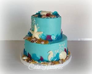 Sea Glass Wedding Cake - Cake by Donna Tokazowski- Cake Hatteras, Hatteras N.C.