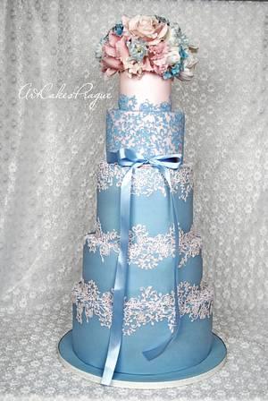 Rose Quartz & Serenity blue Wedding cake - Cake by Art Cakes Prague