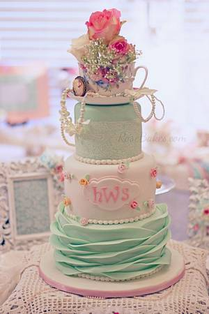 Shabby Chic Baby Shower Cake with Ruffles, Lace & Rosebuds - Cake by Rose Atwater