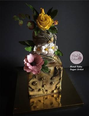 Beauty in the Chaos- WorldCancerDay SugarFlowers&CakesinBloom Collaboration  - Cake by Hend Taha-HODZI CAKES