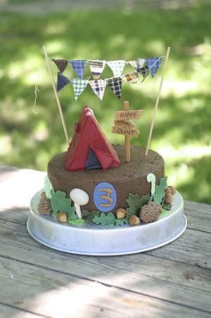 Camping Woodland Third Birthday Cake - Cake by SarahBeth3