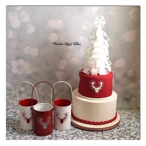 Wafer paper Christmas tree cake - Cake by Wooden Heart Cakes
