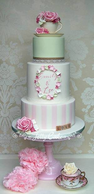 Teacup and Roses Wedding Cake - Cake by JellyCake - Trudy Mitchell