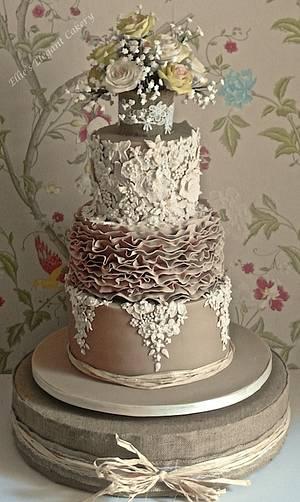 Lace, Ruffles and Vintage Rose Wedding cake - Cake by Ellie @ Ellie's Elegant Cakery
