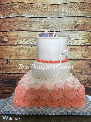 Salmon pink communion cake  - Cake by Tica's Designer Cakes