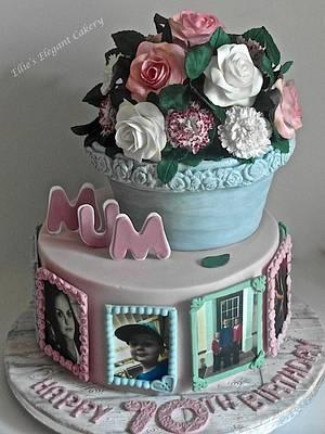 Roses and Carnation, plant pot x - Cake by Ellie @ Ellie's Elegant Cakery