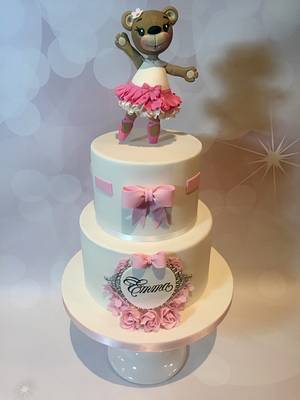 Ballerina bear christening cake - Cake by Claire Lynch - Quirky Cake Designs